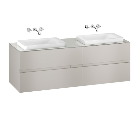 FURNITURE | 1800 mm wall-hung furniture for 2 over countertop washbasins and wall-mounted basin mixers | Silver by Armani Roca | Vanity units
