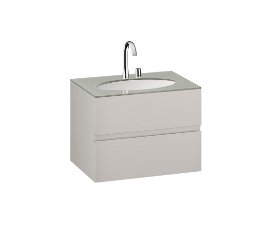FURNITURE | 820 mm Furniture with upper and lower drawer for single 670 mm under-counter washbasin | Silver by Armani Roca | Vanity units