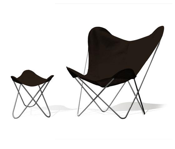 Hardoy Butterfly Chair OUTDOOR Batyline anthrazit mit Ottoman von Weinbaums | Sessel