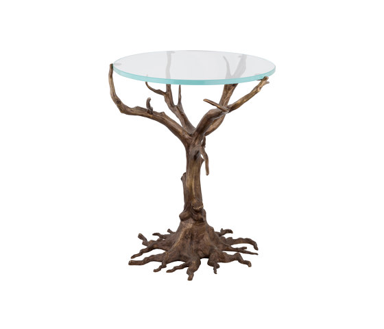 Oak   Oak base round glass table by Il Bronzetto - Brass Brothers & Co   Side tables