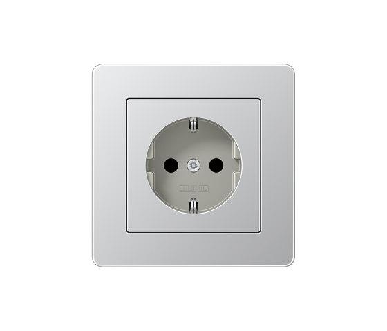 A Flow SCHUKO-Steckdose Aluminium by JUNG | Schuko sockets