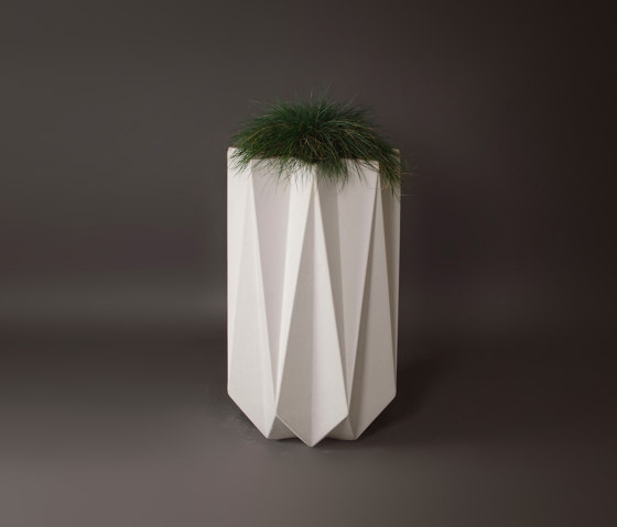Kronen 90 Concrete Contemporary Planter,White by Adam Christopher Design | Plant pots