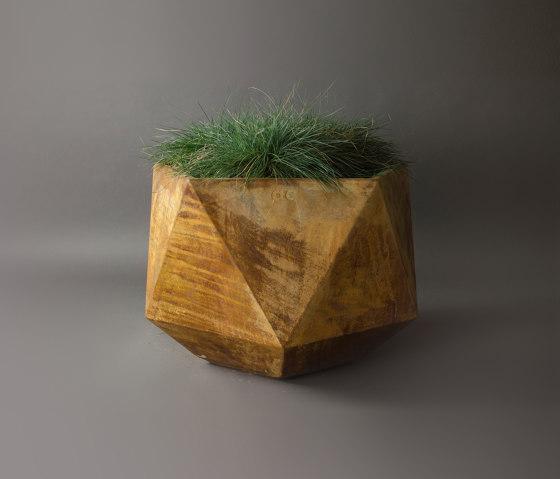 Femkant Garden Planter, Rusted Steel Effect by Adam Christopher Design   Plant pots
