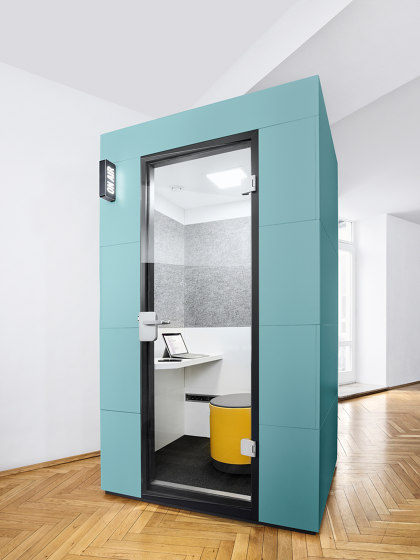 Phone Unit |  petrol with yellow seat by OFFICEBRICKS | Office Pods