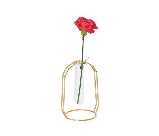 Complementos Decoración | Florero Tubo Vid/Metal Oro 12X10X17 de Andrea House | Floreros
