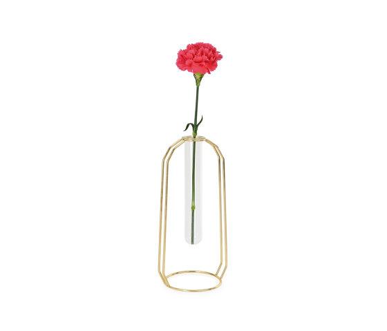 Complementos Decoración | Florero Tubo Vid/Metal Oro 12X10X25 de Andrea House | Floreros