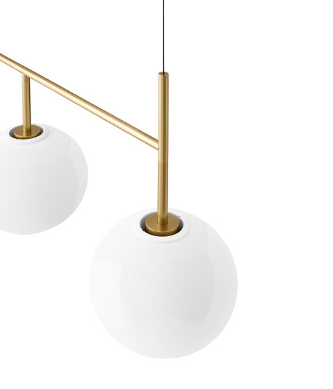 TR Bulb | Suspension Frame | Brushed Brass | Shiny Opal Bulb by MENU | Suspended lights