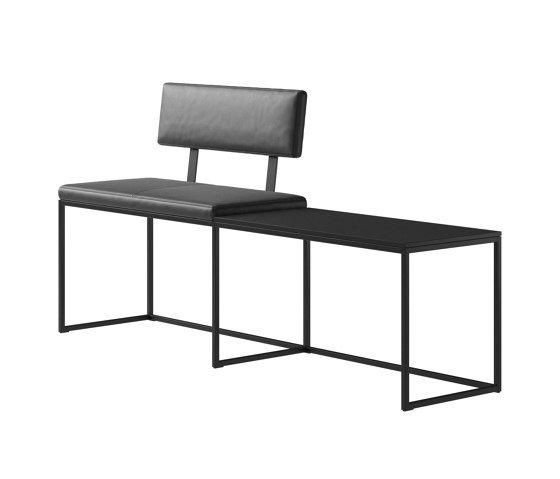 London Bench B010 large with cushion, shelf and backrest di BoConcept | Panche