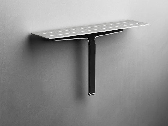 Reframe Collection   Soap shelf and shower wiper - brushed steel by Unidrain   Bath shelves