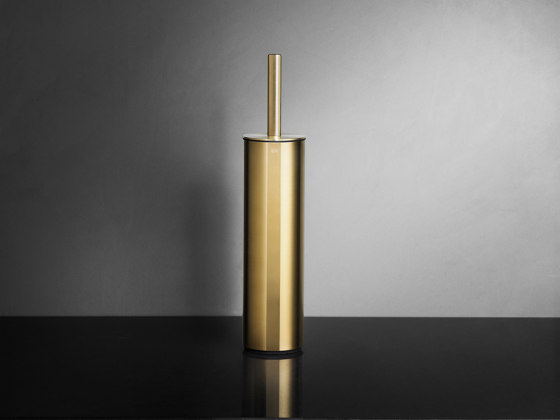 Reframe Collection | Toilet brush, floor - brass by Unidrain | Toilet brush holders