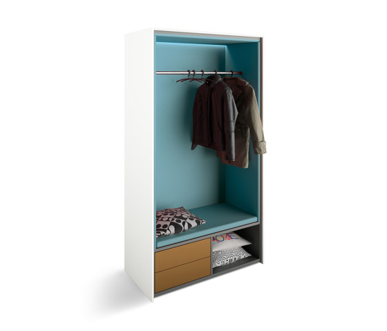 basic S cupboard booths | beach chair with pull-out drawers and cloakroom by werner works | Coat racks