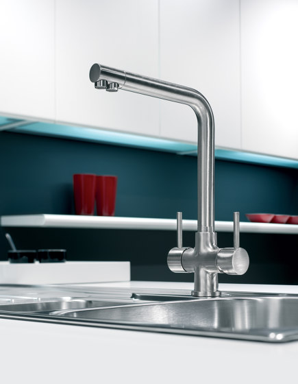 Idealaqua   Kitchen sink mixer Idealaqua series forwater treatment, with separated waterflows. by Quadrodesign   Kitchen taps