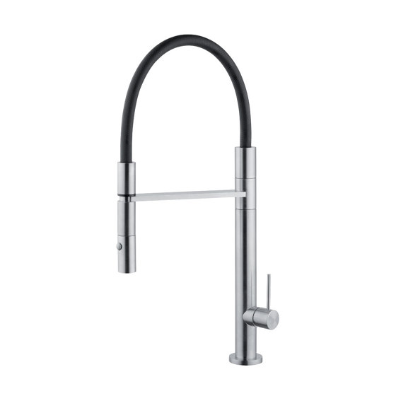 Kitchen | Stainless steel AISI316L Kitchen sink mixer with black flexible hose and two-jets handshower. New design, lathe turned manufactured. by Quadro | Kitchen taps