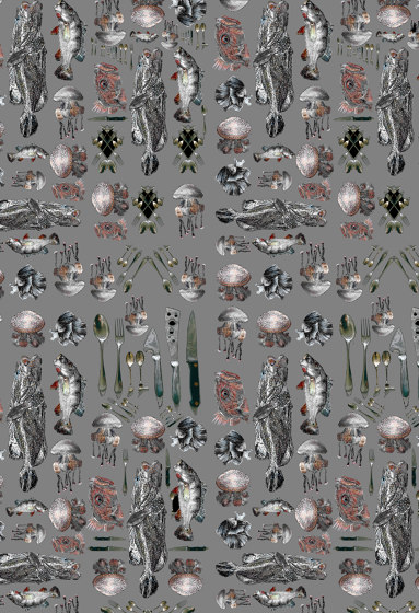 Fishes Cuttlery | artist wallpaper by Ginny Litscher | Wall coverings / wallpapers