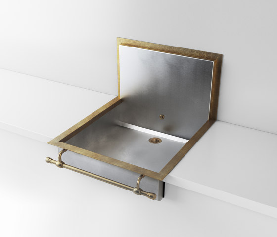 SATIN STAINLESS STEEL SEMI-RECESSED SINK LVQ057B de Officine Gullo | Éviers de cuisine