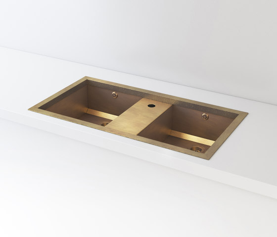 DOUBLE BOWL BURNISHED BRASS BUILT-IN SINK