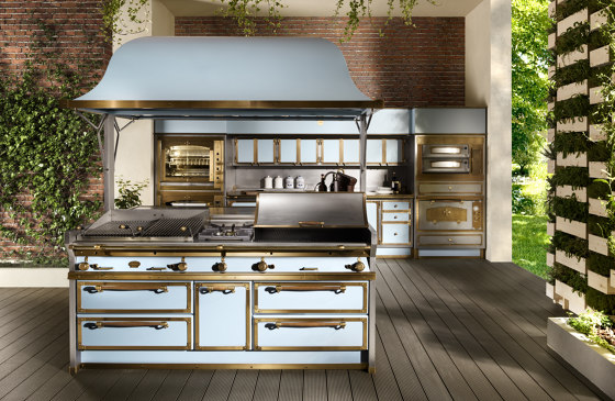 PACIFIC LIGHT BLUE AND BURNISHED BRASS KITCHEN by Officine Gullo | Fitted kitchens