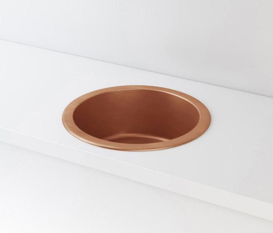ROUND BOWL SINK IN BURNISHED COPPER LVR002 de Officine Gullo | Éviers de cuisine