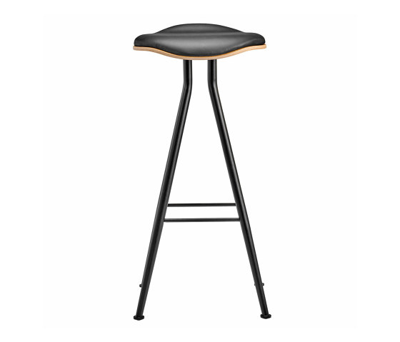 Barfly Bar Chair, Black Frame - Natural Seat / Premium Leather Black, High 77 cm by NORR11 | Bar stools