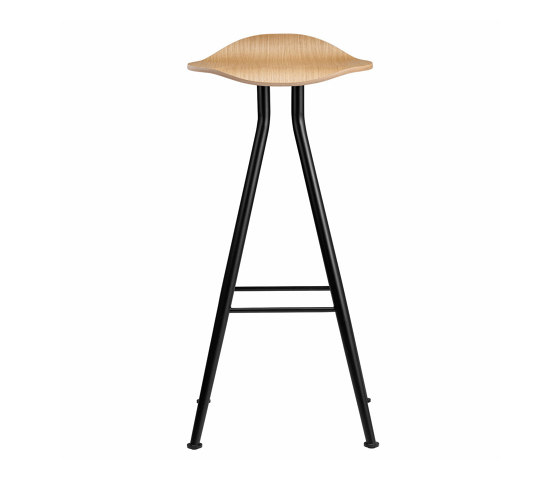Barfly Bar Chair, Black Frame - Natural Seat, High 77 cm by NORR11 | Bar stools