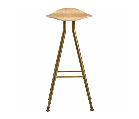 Barfly Bar Chair, Brass Frame - Natural Seat, High 77 cm by NORR11 | Bar stools