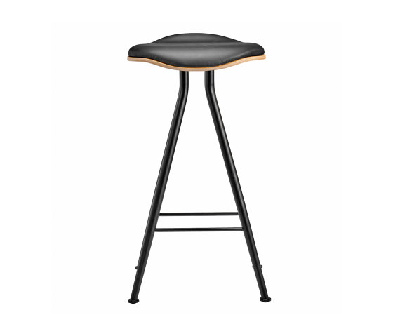 Barfly Bar Chair, Black Frame - Natural Seat / Premium Leather Black, Low 67 cm by NORR11   Bar stools