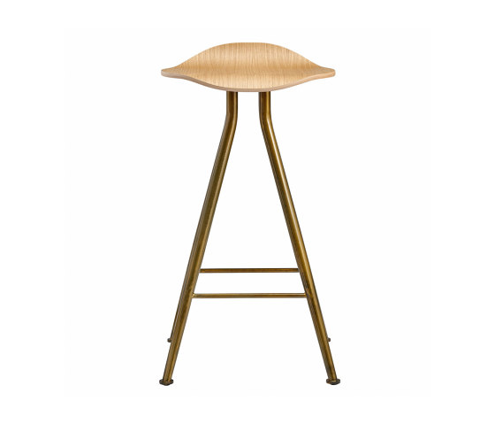 Barfly Bar Chair, Brass Frame - Natural Seat, High 67 cm di NORR11 | Sgabelli bancone
