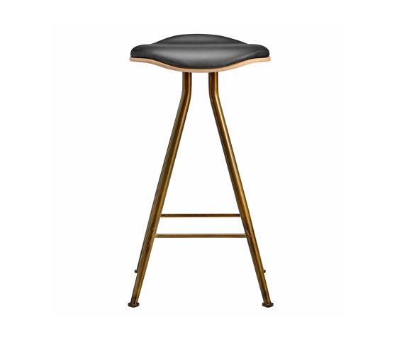 Barfly Bar Chair, Brass Frame - Natural Seat / Premium Leather Black, Low 67 cm by NORR11 | Bar stools