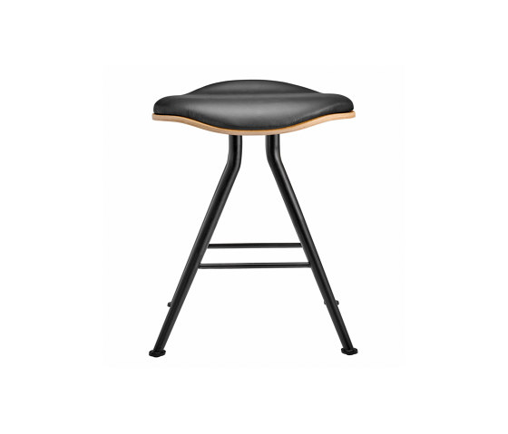 Barfly Bar Stool, Black Frame - Natural Seat / Premium Leather Black by NORR11 | Stools