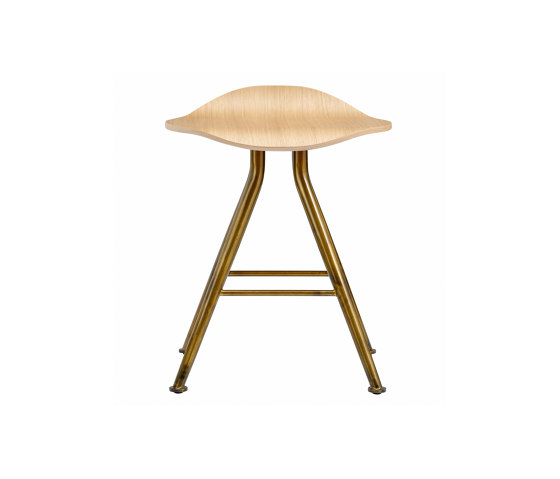 Barfly Bar Stool, Brass Frame - Natural Seat di NORR11 | Sgabelli