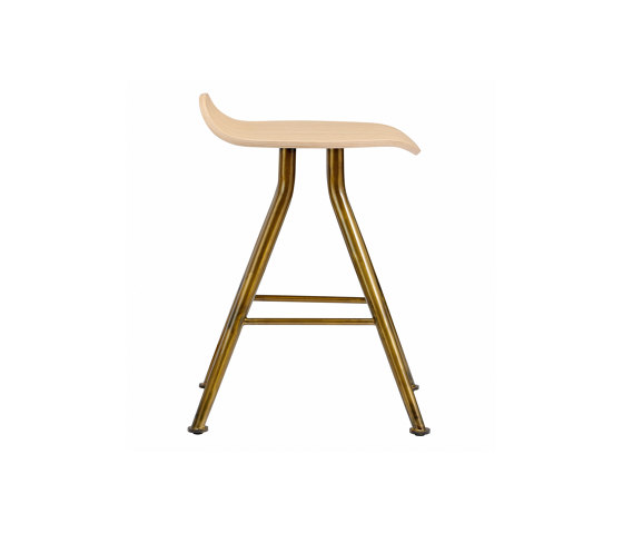 Barfly Bar Stool, Brass Frame - Natural Seat by NORR11 | Stools