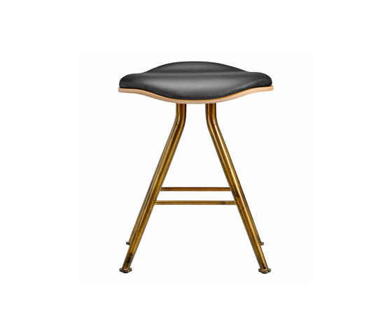Barfly Bar Stool, Brass Frame - Natural Seat / Premium Leather Black by NORR11 | Stools