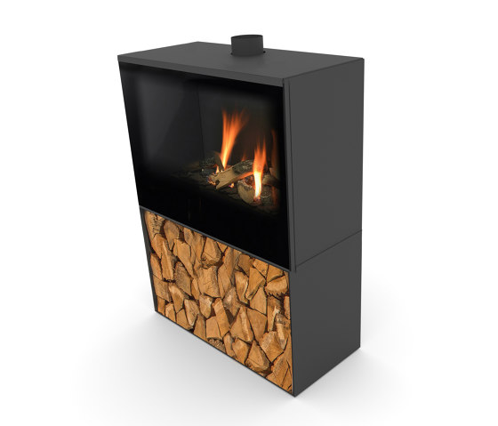 Versal Freestanding with woodbox by Planika | Closed fireplaces