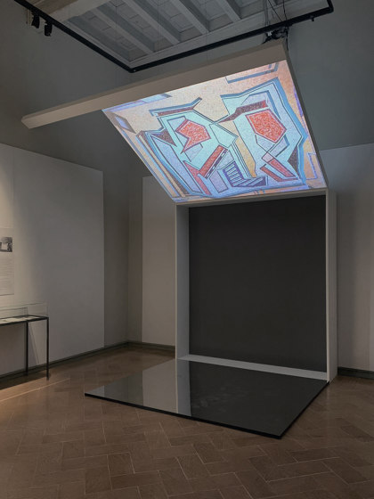 Exhibition   Space design by Dresswall   Illuminated ceiling systems