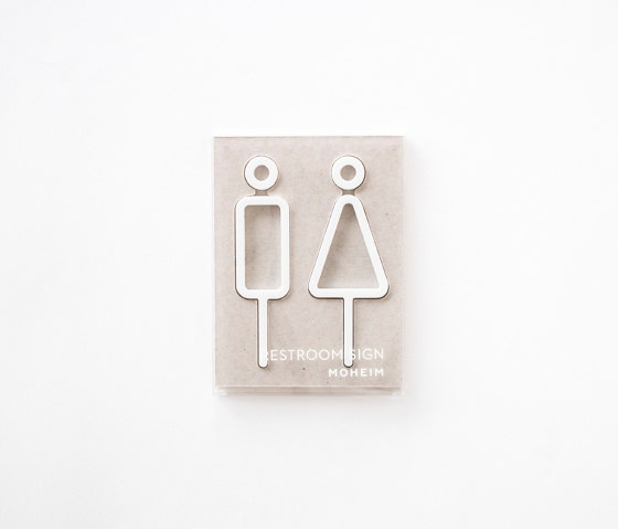 Restroom Sign | 2pcs | whtie by Moheim | Symbols / Signs