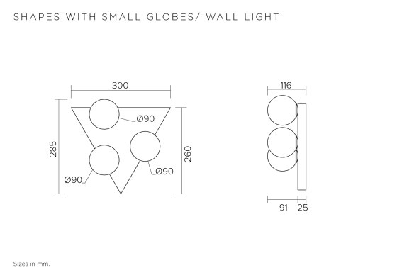 Shapes with small globes 369OL-W01 by Atelier Areti | Wall lights