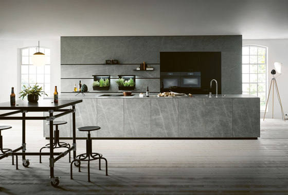 NX 950 Ceramic marble grigio effect by next125 | Fitted kitchens