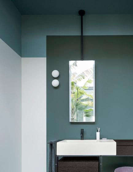 Arcadia Argo mirror ceiling installation with LED light by Ceramica Cielo   Bath mirrors