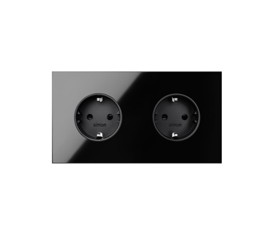 Simon 100 | Kit Double Socket Black Schuko by Simon | Schuko sockets