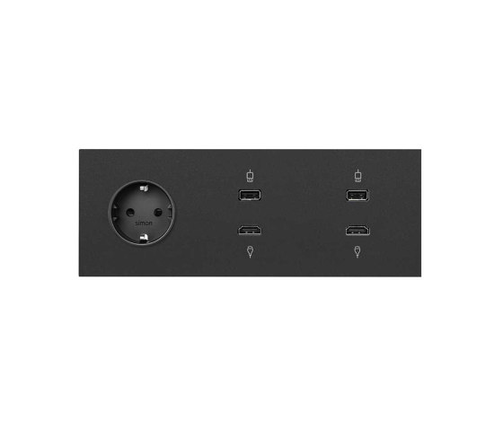 Simon 100 | Kit Socket Schuko + 2 HDMI + USB Connectors by Simon | Schuko sockets