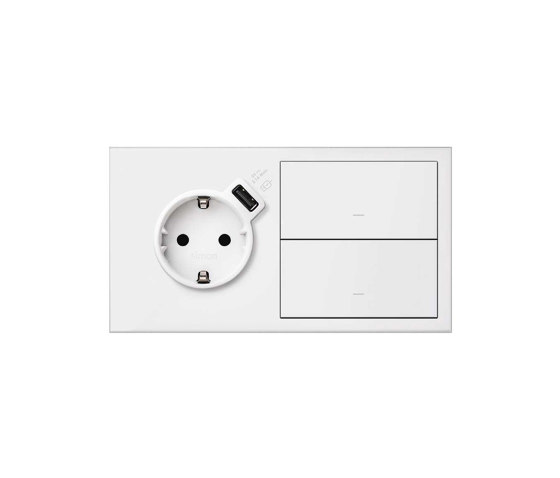 Simon 100 | Kit Socket Schuko + USB Integrated Charger + 2 Switches by Simon | Push-button switches