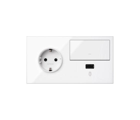 Simon 100 | Kit Switch + USB Charger + Socket Schuko by Simon | Push-button switches
