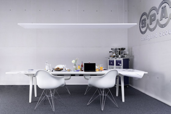 recycled PET | designed acoustic ceiling by SPÄH designed acoustic | Sound absorbing suspended panels