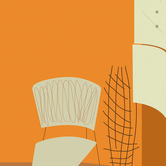 Chaise Fond Orange by Agena | Wall coverings / wallpapers