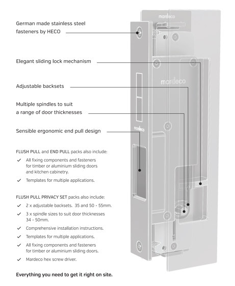 Mardeco Flush Pull Privacy Set Black by Mardeco International Ltd. | Flush pull handles