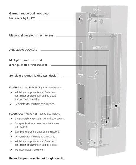 Mardeco Flush Pull Privacy Set Brushed Nickel by Mardeco International Ltd. | Flush pull handles
