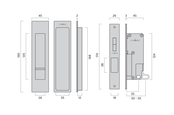 Mardeco Flush Pull Privacy Set Satin Chrome by Mardeco International Ltd. | Flush pull handles