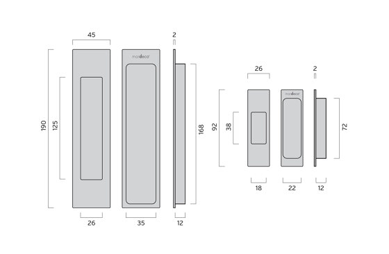 Mardeco Flush Pull Set Polished Chrome by Mardeco International Ltd. | Flush pull handles