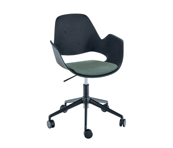 FALK | Dining armchair - Five star base w/ castors, Dark Green seat by HOUE | Chairs