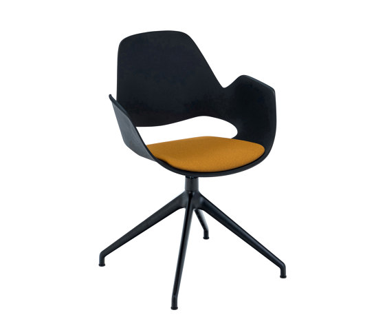 FALK | Dining armchair - Four star swivel base, Dark Yellow seat by HOUE | Chairs